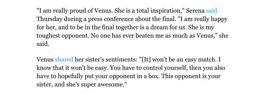 Venus and Serena support each other