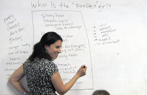 "Author Michelle Cove leads activity about media's ""perfect girl"" in 2014"